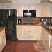 White Kitchen Cabinets, Counter Tops Wood Floor